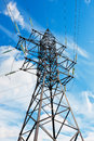 High voltage lines and blue sky Royalty Free Stock Photos