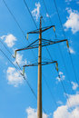 High voltage lines and blue sky Stock Image