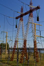 High voltage pillars Royalty Free Stock Photography