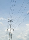 High voltage pole electric post with sky background Stock Photo