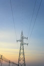 High voltage pole post tower at sky background Royalty Free Stock Image