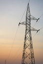 High voltage pole post tower at sky background Royalty Free Stock Photography