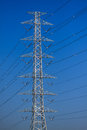 High voltage poles mono pole transmission line tower the power energy in the city Royalty Free Stock Image