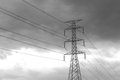 High voltage post high voltage tower in black and white color Royalty Free Stock Photo