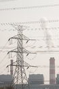 High voltage post high voltage tower with black and white picture style Royalty Free Stock Photography