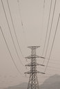 High voltage post high voltage tower with black and white picture style Royalty Free Stock Photo