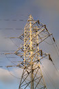 High voltage post or high voltage tower over sky Royalty Free Stock Photo