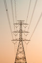 High voltage post high voltage tower on sky background Stock Photo
