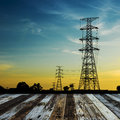 High voltage post high voltage tower sky background Royalty Free Stock Photo