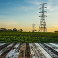 High voltage post high voltage tower sky background Royalty Free Stock Images