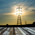 High voltage post high voltage tower sky background Stock Photography