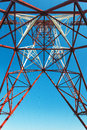 High voltage post high voltage tower sky background Stock Images