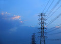 High voltage post high voltage tower sky background Royalty Free Stock Photos