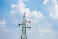 High voltage post high voltage tower sky background Stock Photos