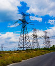 High voltage post high voltage tower sky background Royalty Free Stock Image