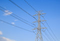 High voltage post high voltage tower sky background with blue Stock Image
