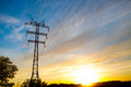 High voltage post high voltage tower sky background sunset or sunrise Stock Photography
