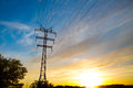 High voltage post high voltage tower sky background sunset or sunrise Royalty Free Stock Images