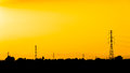 High voltage post high voltage tower sky background in thailand Royalty Free Stock Photo