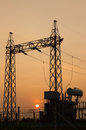 High voltage post high voltage tower on sunset backgrounds Royalty Free Stock Images