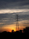 High voltage post at sunset view Stock Photography