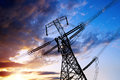High voltage post tower sky background Stock Image