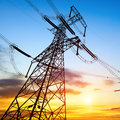High voltage post tower sky background Stock Photo
