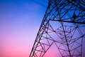 High voltage post in twilight time and sky Royalty Free Stock Image