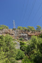 High-voltage power line in mountains Stock Photography