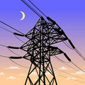 High voltage power line in sunset Stock Image