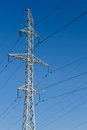 High voltage power lines electric on pylons Royalty Free Stock Photos