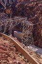 High voltage power lines from hoover dam for transmission of electricity on the border of arizona and nevada Royalty Free Stock Image