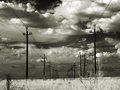 High voltage power lines in the steppe infrared photography Stock Images