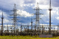 High voltage power tower, lines transmission. Royalty Free Stock Photo