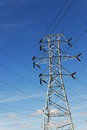 High voltage power tower and transmission line Royalty Free Stock Photo