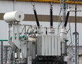 High voltage power transformer on electrical substation Royalty Free Stock Photo