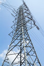 High voltage power transmission tower in substation Stock Photography
