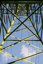 High voltage pylon form inside. View from bottom. Stock Photos