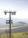 High voltage pylons spoil countryside landscape the Stock Images
