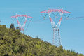 High voltage pylons two of the net at tension Royalty Free Stock Photography