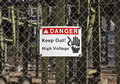 High voltage sign danger south dakota Stock Image