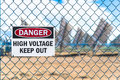High Voltage Solar Panel Danger Sign Royalty Free Stock Photo