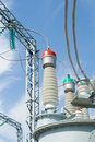 High-voltage substation equipments. Royalty Free Stock Photos