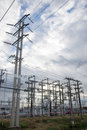 High Voltage Substation The sun shone through the clouds thicke Royalty Free Stock Photo