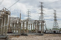 High voltage switchs at substation Stock Images