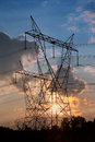 High voltage tower electrical towers with sunset background Stock Images