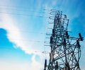 High-voltage tower sky background Royalty Free Stock Photo