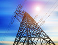 High-voltage tower sky background Royalty Free Stock Photography