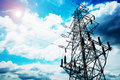 High-voltage tower sky background Royalty Free Stock Image