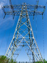 High voltage tower vertical view of an with pure blue sky Stock Photo